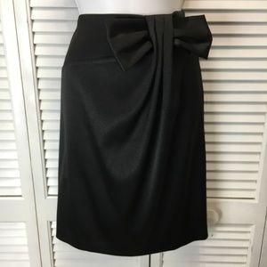 Helene Blake black satin skirt with bow size 10